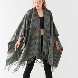 NWT New UO Urban Green and Blue / Moss Poncho Cape